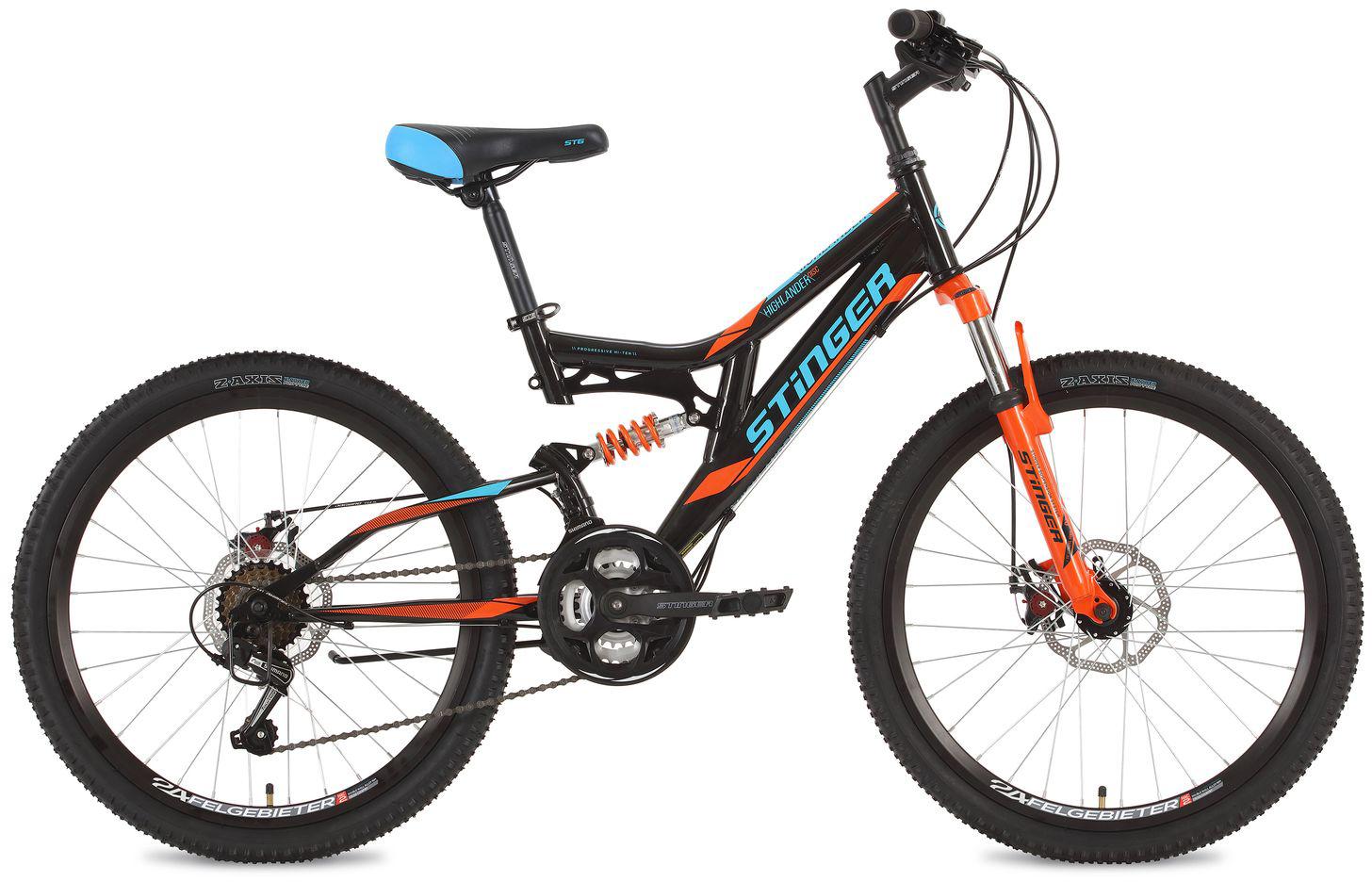 Велосипед горный Stinger Highlander, цвет: черный, 24, рама 14 велосипед горный stinger highlander цвет зеленый 24 рама 14
