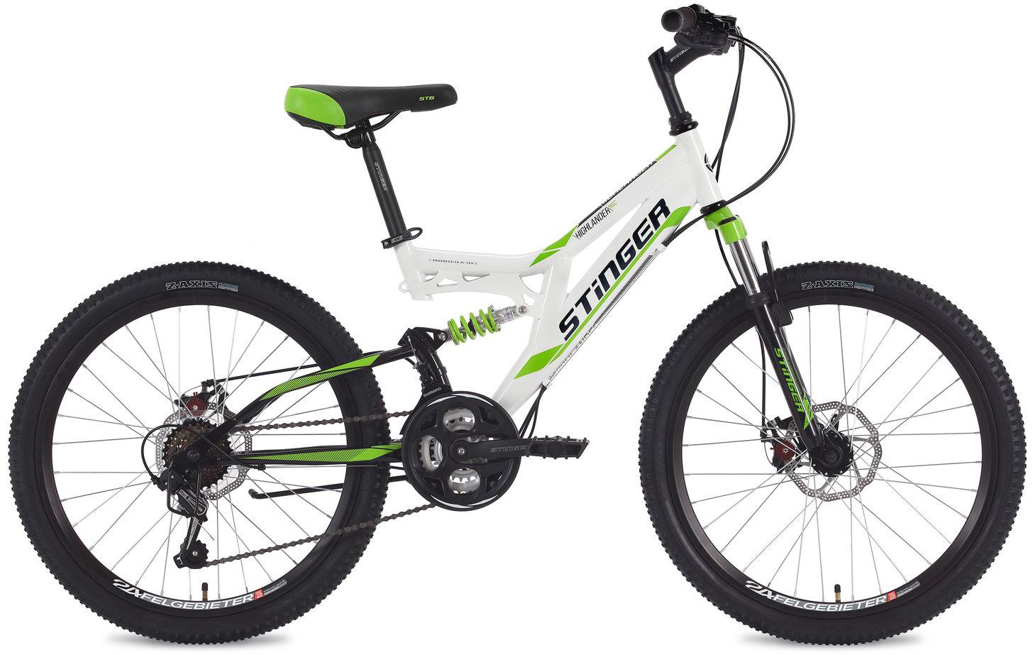 Велосипед горный Stinger Highlander, цвет: белый, 24, рама 14