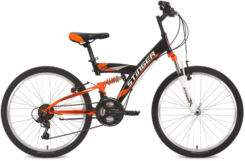 Велосипед горный Stinger Banzai, цвет: черный, 24, рама 14 велосипед горный stinger highlander цвет зеленый 24 рама 14
