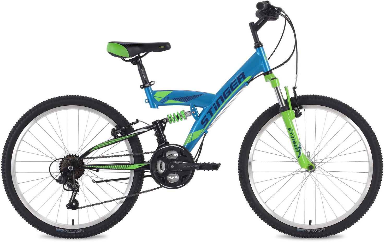 Велосипед горный Stinger Banzai, цвет: синий, 24, рама 14
