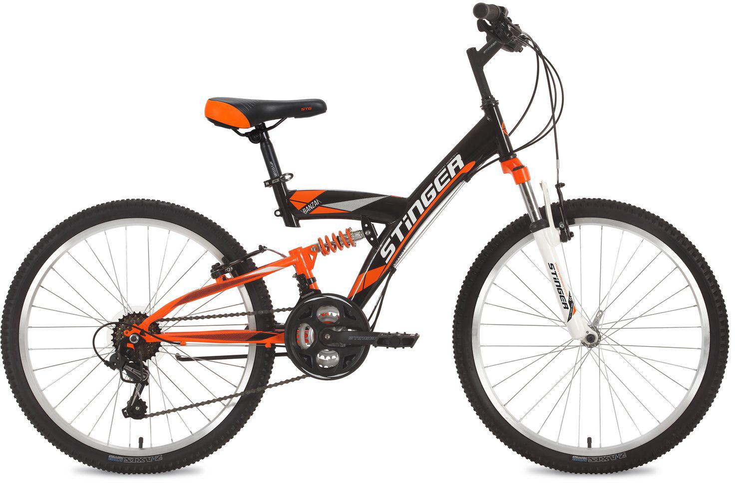 Велосипед горный Stinger Banzai, цвет: черный, 24, рама 16