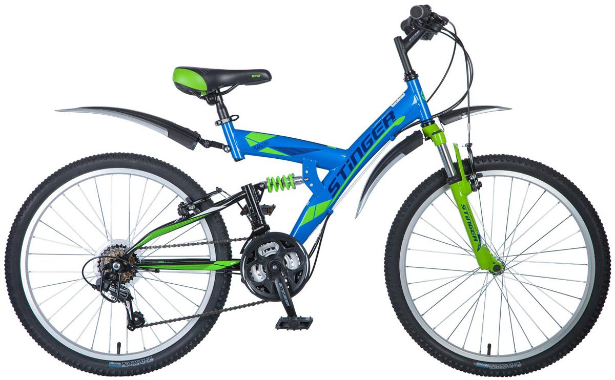 Велосипед горный Stinger Banzai, цвет: синий, 24, рама 16 велосипед горный stinger alpha 3 7 цвет синий 26 рама 16