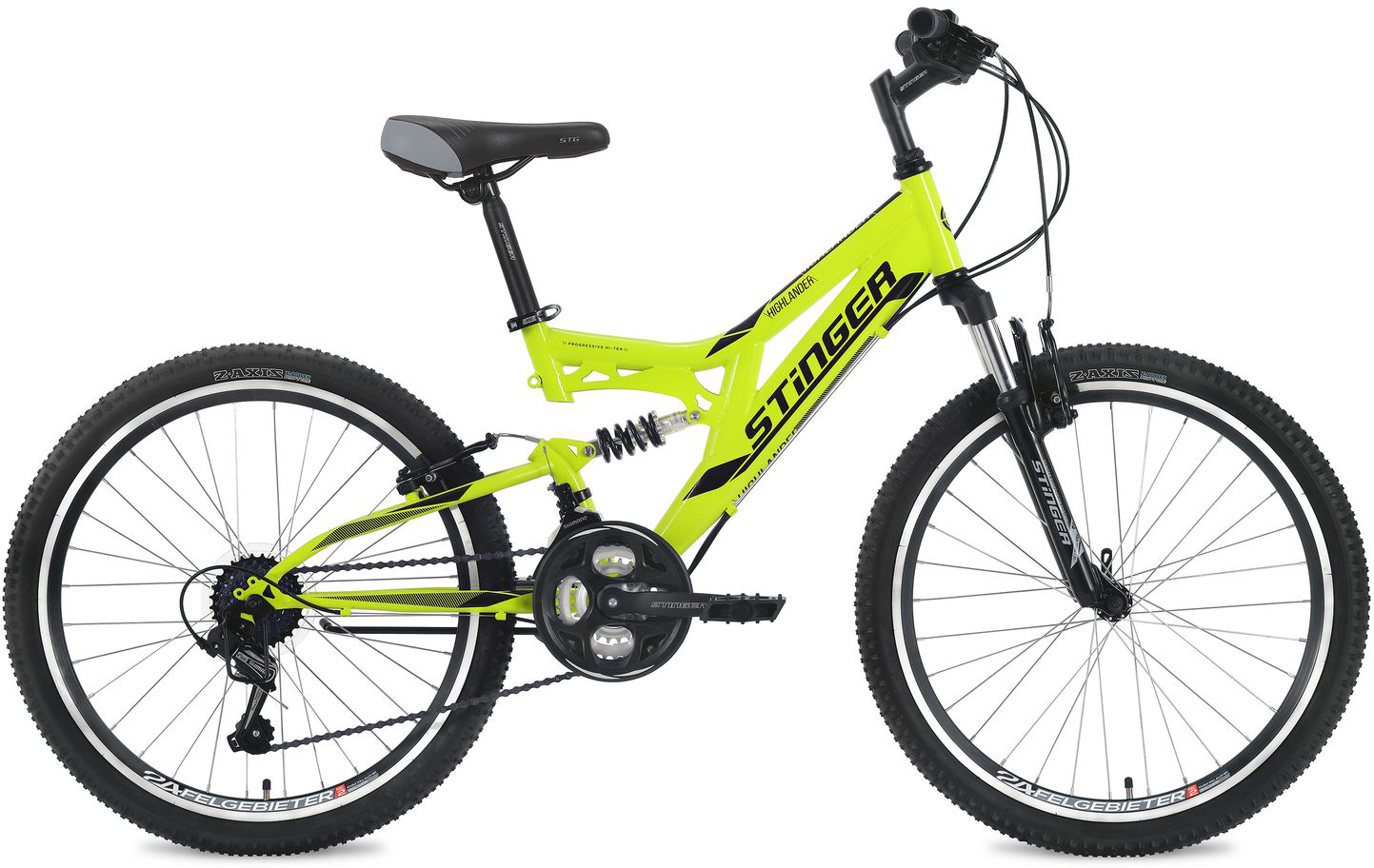Велосипед горный Stinger Highlander, цвет: зеленый, 24, рама 14