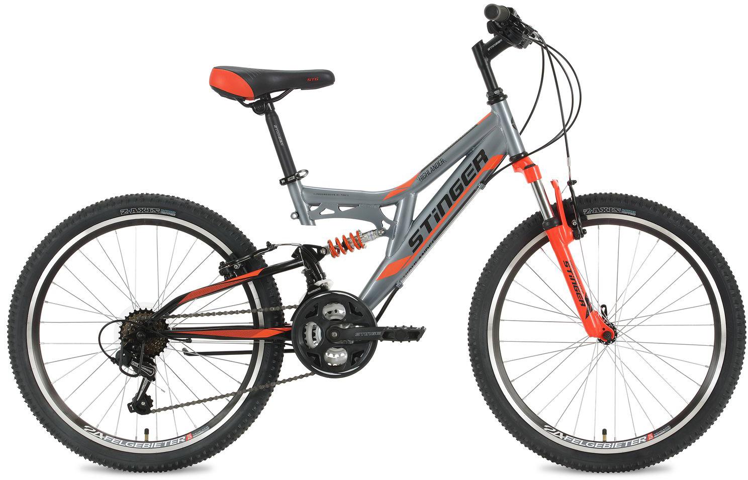 Велосипед горный Stinger Highlander, цвет: серый, 24, рама 14 велосипед горный stinger highlander цвет зеленый 24 рама 14