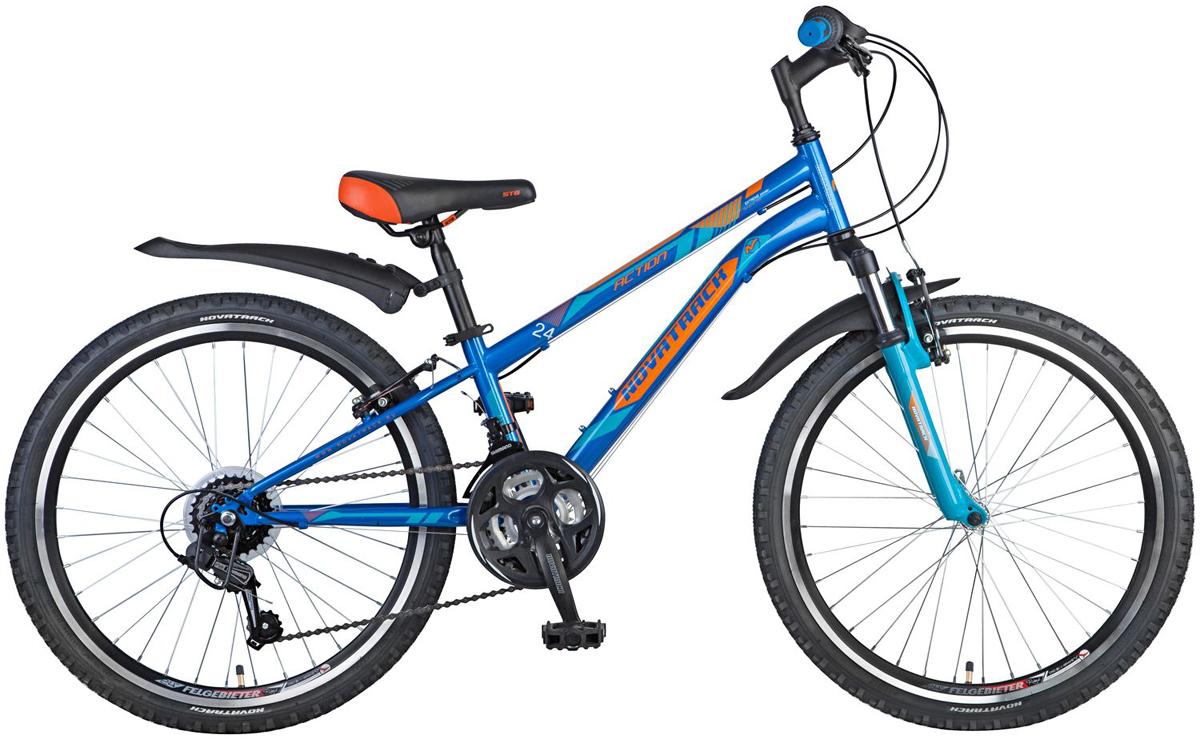 Велосипед детский Novatrack Action, цвет: синий, 24 велосипед детский novatrack action цвет черный 24