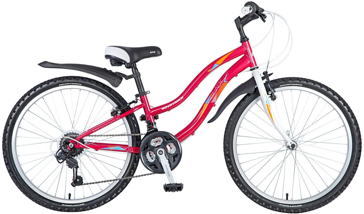 Велосипед детский Novatrack Lady, цвет: красный, 24, рама 12 велосипед детский novatrack action цвет черный 24
