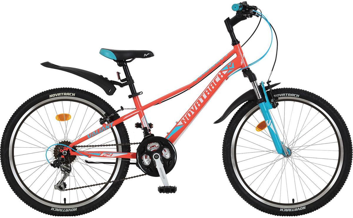 Велосипед детский Novatrack Valiant, цвет: коралловый, 24, рама 10 novatrack novatrack велосипед valiant 24 рама 12 18 скоростей коралловый