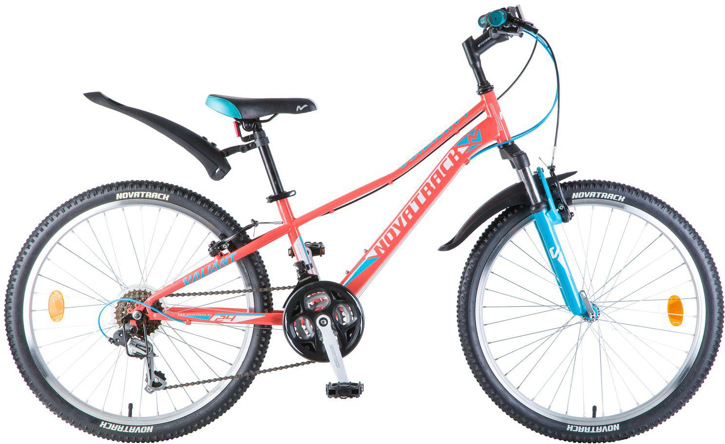 Велосипед детский Novatrack Valiant, цвет: коралловый, 24, рама 12 novatrack novatrack велосипед valiant 24 рама 12 18 скоростей коралловый