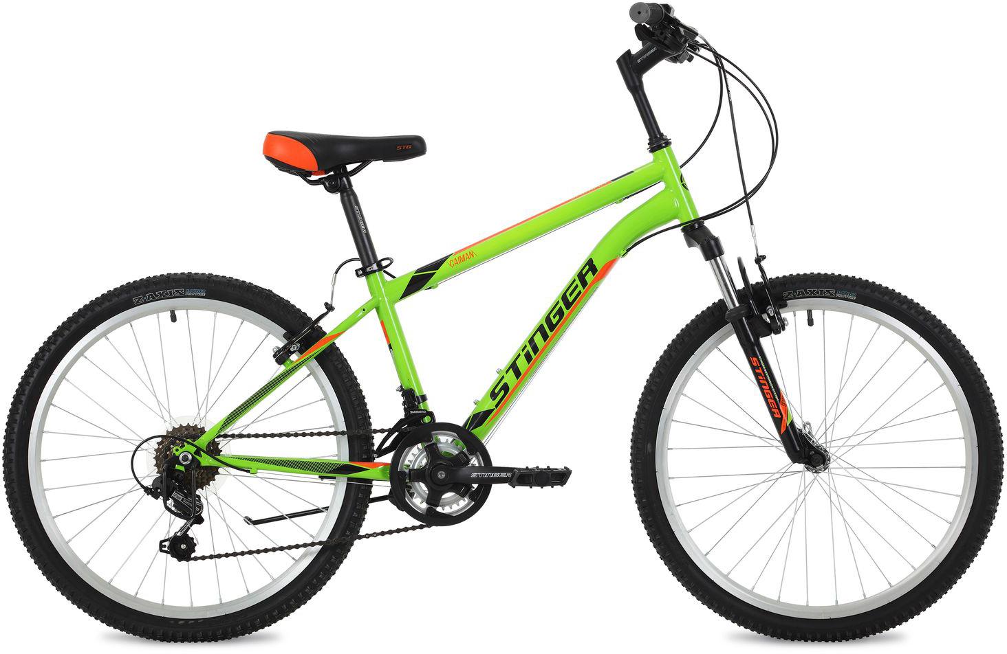"Велосипед горный Stinger ""Caiman"", цвет: зеленый, 24"", рама 12,5"""