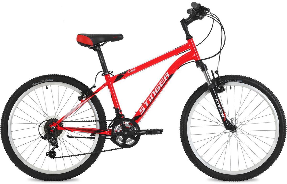 """Велосипед горный Stinger """"Caiman"""", цвет: красный, 24"""", рама 12,5"""""""