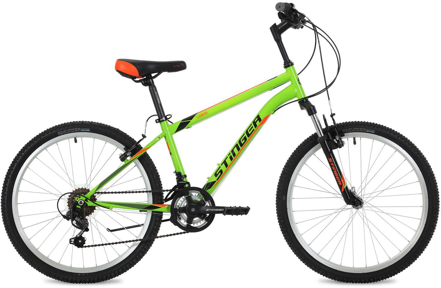 "Велосипед горный Stinger ""Caiman"", цвет: зеленый, 24"", рама 14"""