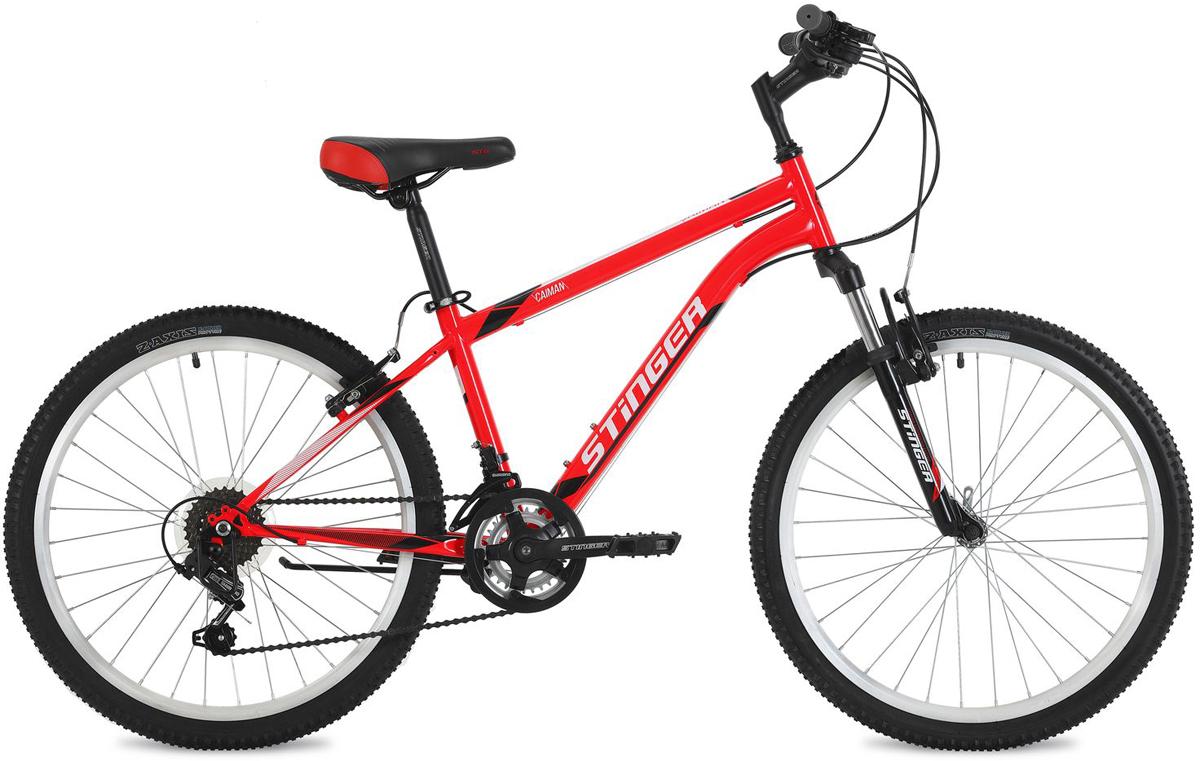 Велосипед горный Stinger Caiman, цвет: красный, 24, рама 14 велосипед stinger 24 caiman 14 красный 24 shv caiman 14 rd8