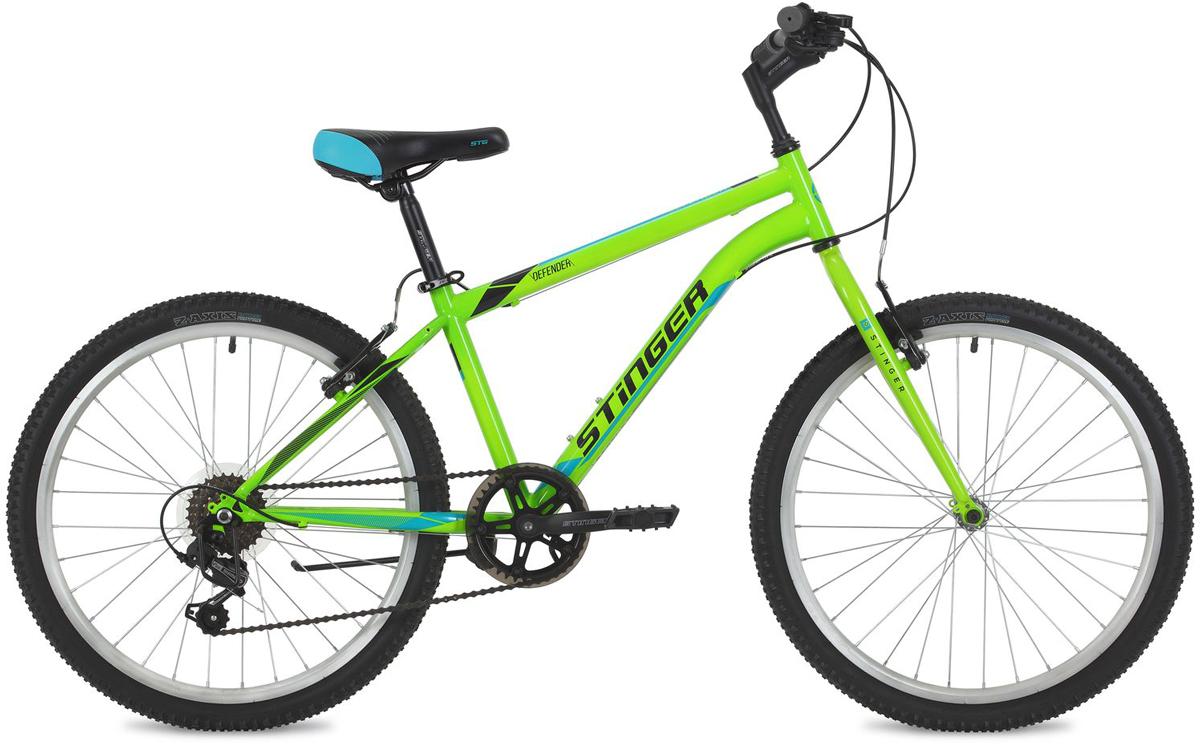 Велосипед горный Stinger Defender, цвет: зеленый, 24, рама 14 велосипед stinger 24 defender 12 5 серый 24 shv defend 12 gr8