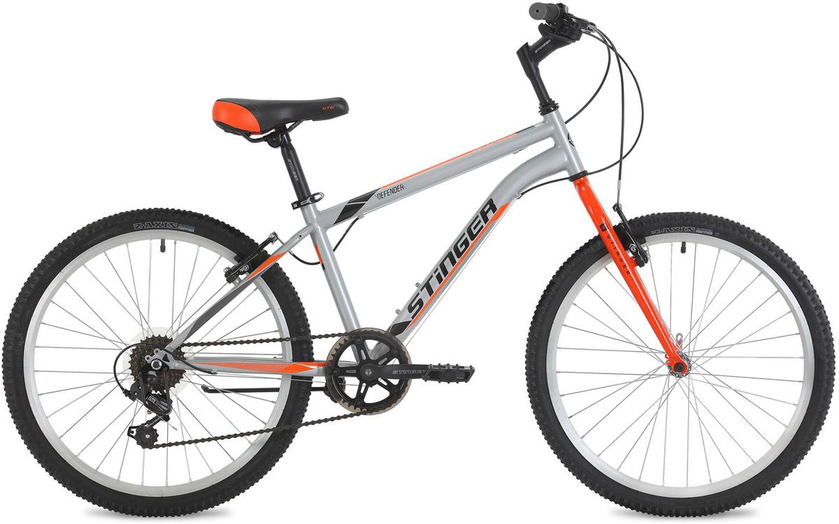 Велосипед горный Stinger Defender, цвет: серый, 24, рама 14 велосипед stinger 24 defender 12 5 серый 24 shv defend 12 gr8