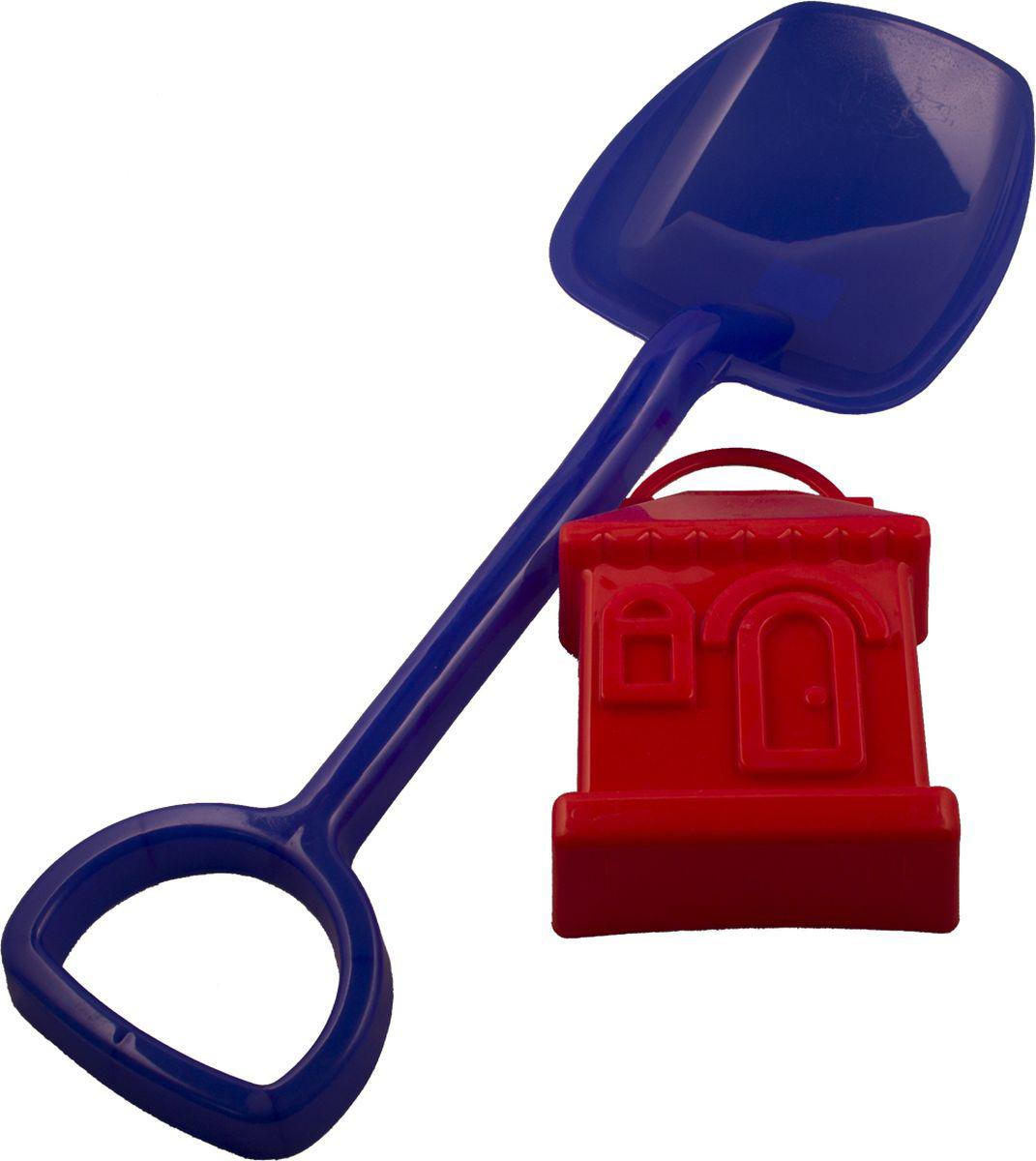 Новокузнецкий завод пластмасс Лопатка 48 см + формочка Домик цвет синий красный