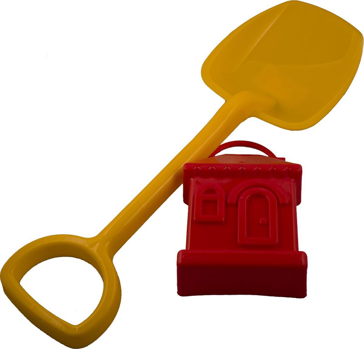 Новокузнецкий завод пластмасс Лопатка 48 см + формочка Домик цвет желтый красный