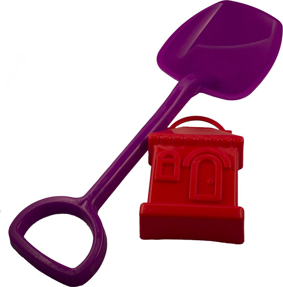 Новокузнецкий завод пластмасс Лопатка 48 см + формочка Домик цвет фиолетовый красный