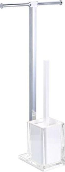 Стойка напольная Fixsen Rainbow: держатель для бумаги, ершик для унитаза, двойная, цвет: белый, 58,8 х 27,5 х 16 см ершик для унитаза fixsen glady с подставкой цвет мокко 41 х 13 2 х 13 2 см