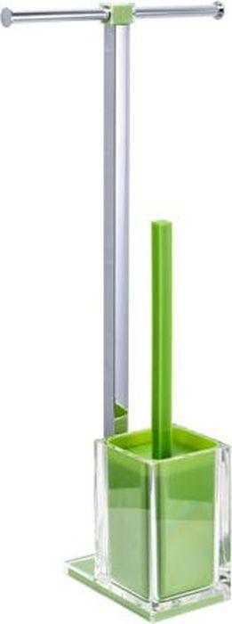 Стойка напольная Fixsen Rainbow: держатель для бумаги, ершик для унитаза, двойная, цвет: зеленый, 58,8 х 27,5 х 16 см ершик для унитаза fixsen glady с подставкой цвет мокко 41 х 13 2 х 13 2 см