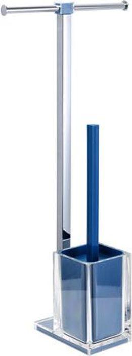 Стойка напольная Fixsen Rainbow: держатель для бумаги, ершик для унитаза, двойная, цвет: синий, 58,8 х 27,5 х 16 см стойка напольная fixsen wendy бумагодержатель и ерш 7032 49