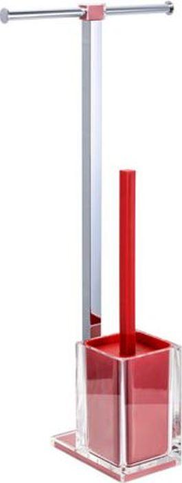 Стойка напольная Fixsen Rainbow: держатель для бумаги, ершик для унитаза, двойная, цвет: красный, 58,8 х 27,5 х 16 см ершик для унитаза fixsen glady с подставкой цвет мокко 41 х 13 2 х 13 2 см