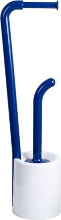 Стойка напольная Fixsen Wendy: держатель для бумаги, ершик для унитаза, цвет: синий, 69,8 х 20,4 х 16 см ершик для унитаза fixsen glady с подставкой цвет мокко 41 х 13 2 х 13 2 см