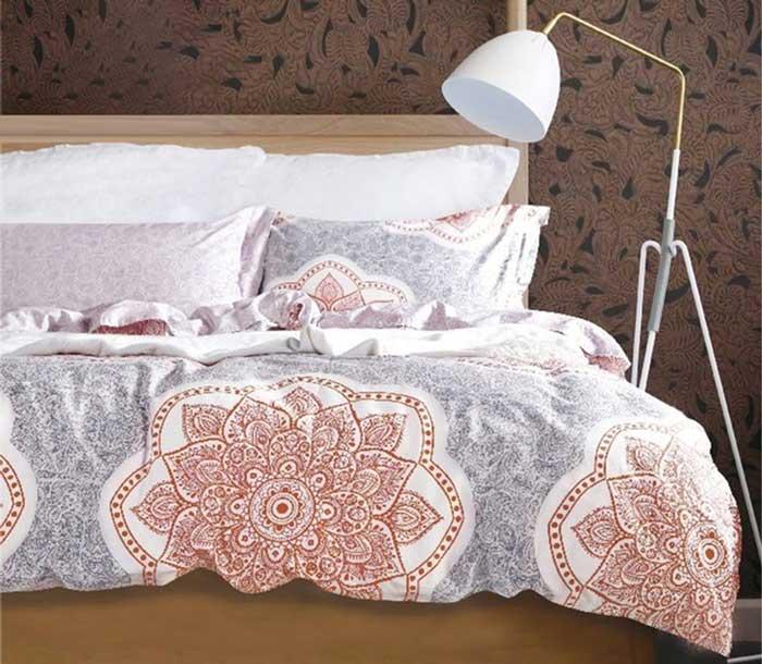 """Комплект белья Tango """"Mia"""", 2-спальный, наволочки 50x70, цвет: серый, красный"""