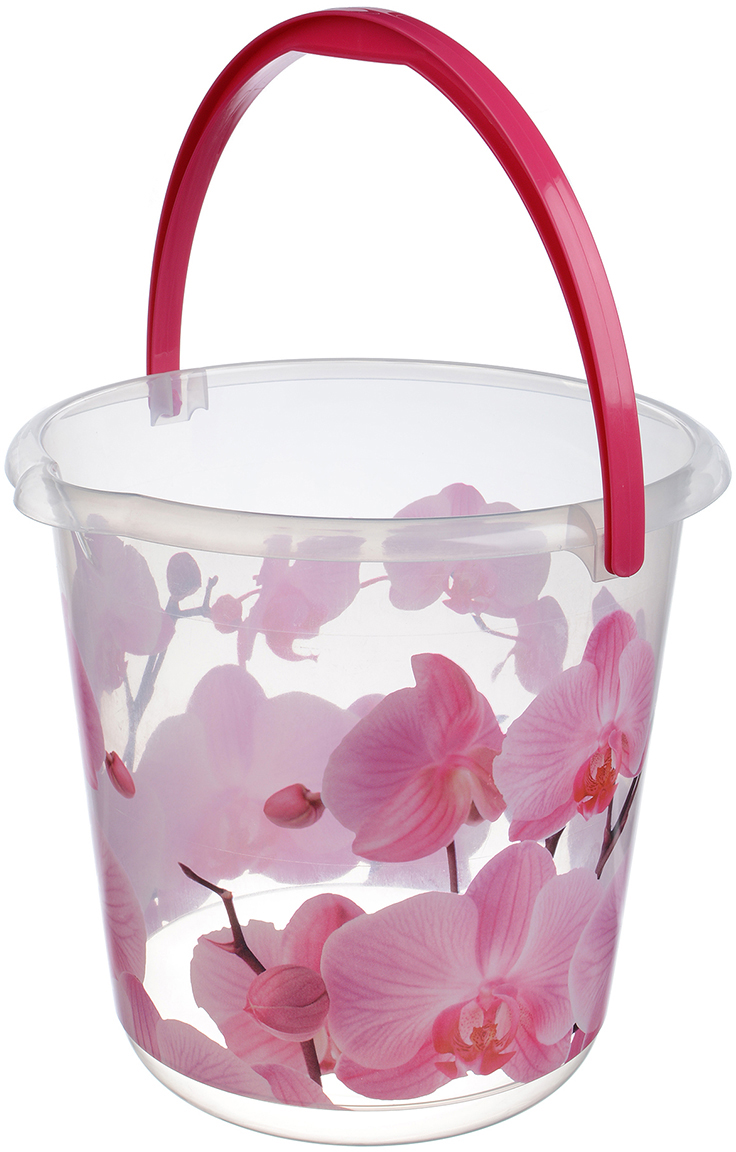 Ведро Idea. Орхидея, цвет: прозрачный, 3 л. М 2424 масленка idea кристалл цвет оранжевый прозрачный