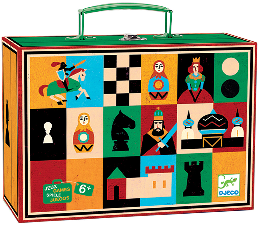 Djeco Настольная игра Шахматы и шашки05225Шахматы - одна из самых популярных и полезных игр для развития ума. В шахматах сочетается и спорт, и искусство, и наука и азарт. Оригинальный, яркий дизайн игрового набора Шахматы и шашки от Djeco пробудит в Вашем ребенке желание научиться этой непростой логической игре. В игровом комплекте, упакованном в удобный переносной чемоданчик есть две классические игры – шахматы и шашки. Игра прекрасно развивает логическое и стратегическое мышление, усидчивость, внимательность и умение просчитывать свои шаги вперед. Игра продается в красивом ярком чемоданчике, который будет удобно брать с собой в гости или в поездку. Все детали набора очень высококачественны. Высота шахматных фигурок 2,5 и 4,5 см. В комплект также входят шашки.Игра рекомендована для детей в возрасте от 6 лет. Количество игроков: 2 человека. Рекомендуем!