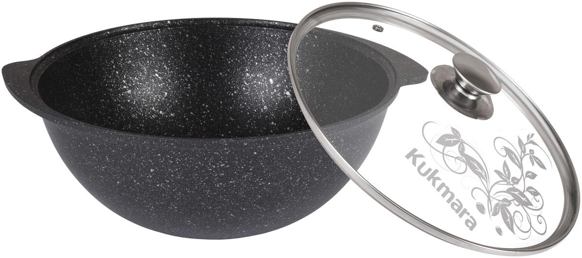 Казан Kukmara Темный мрамор с крышкой, с антипригарным покрытием, 3,5 л цена
