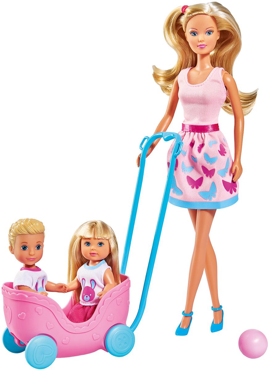 Simba набор кукол Штеффи Еви Тимми с питомцами Веселая прогулка набор кукол simba штеффи и еви принцессы