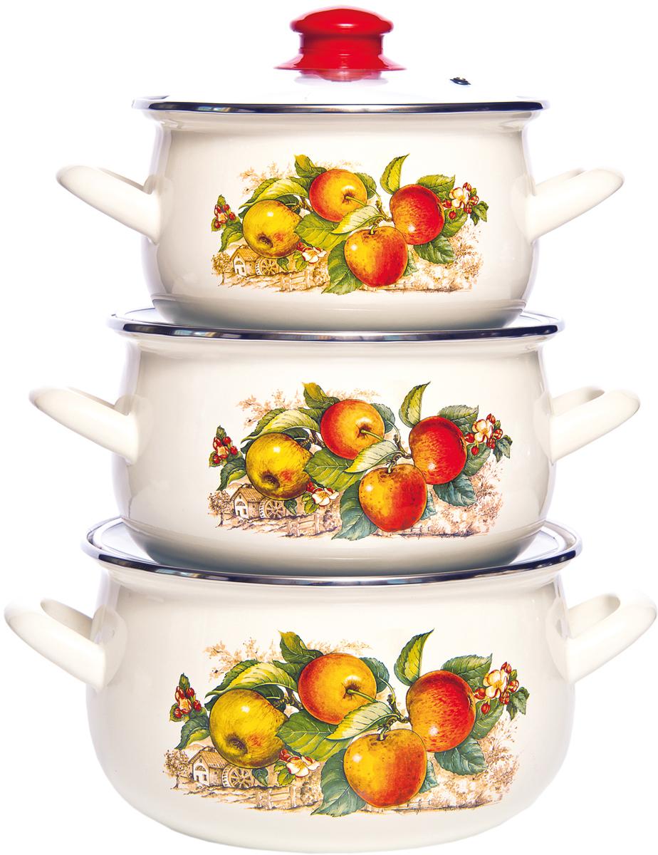 Набор кастрюль Interos Яблоки, с крышками , 3 предмета чайник яблоки 1 л