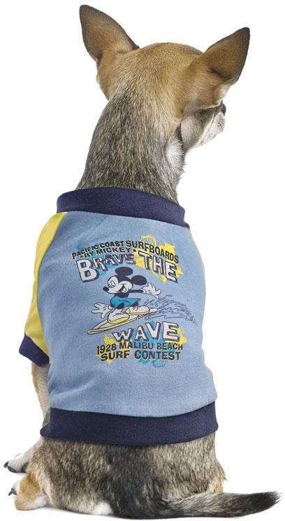"Футболка для собак TriolDisney ""Mickey Surfer"", цвет: серо-голубой. Размер XS"