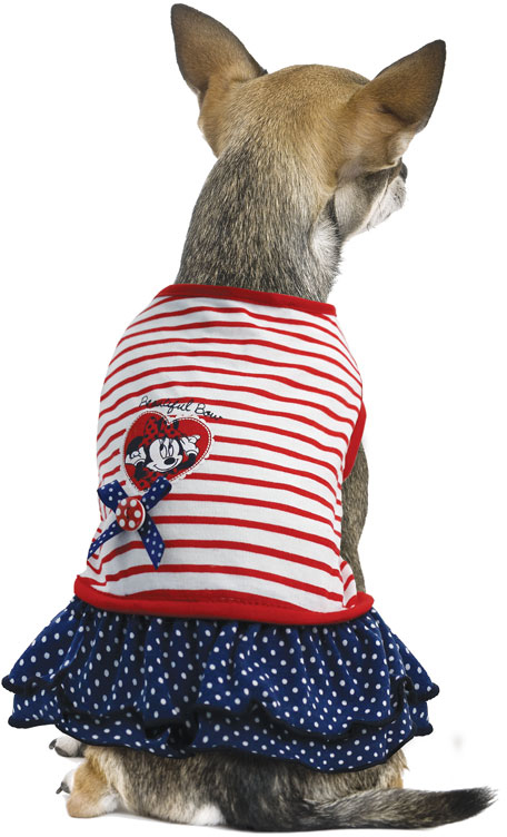 """Платье для собак TriolDisney """"Minnie Smart"""", цвет: белый, красный, черный. Размер XS"""