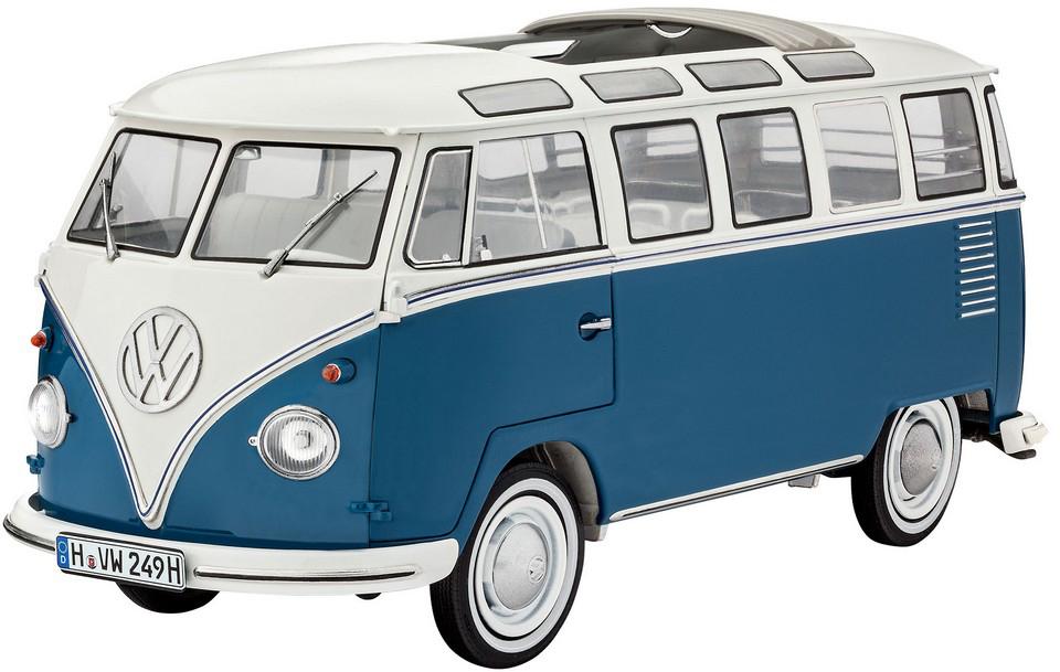 Revell Модель для сборки Автомобиль Volkswagen T1 Samba Bus07009RСборная модель автомобиля Volkswagen T1 Samba Bus Revell 07009 – модель-копия из пластика легендарного немецкого автобуса в масштабе 1:16. Модель собирается из 223 элементов. Все элементы корпуса машины уже окрашены в базовые цвета. Также в комплект включены детали из прозрачного пластика и с напылением хрома. Длина готовой модели: 27,2 сантиметра. В комплекте деталь с немецкими, британскими, голландскими и французскими номерами. Модель отличается повышенным уровнем сложности, поэтому может быть рекомендована для взрослых и подростков от 14 лет. Детям следует собирать такую модель вместе со взрослыми.