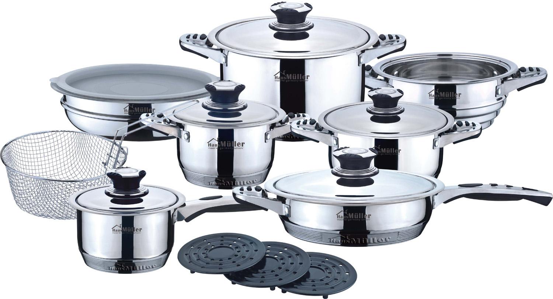 Набор посуды для приготовления Haus Moller HM - 1019, светло-серый кастрюля walmer nova с крышкой 2 5 л