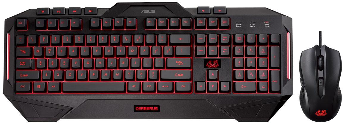 Комплект игровая мышь + клавиатура ASUS Cerberus Combo 90YH0141-B2RA00, Black игровая клавиатура asus cerberus mech rgb black switch