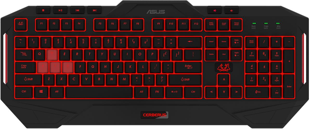 лучшая цена Игровая клавиатура ASUS Cerberus MKII 90YH0131-B2RA00, Black игровая