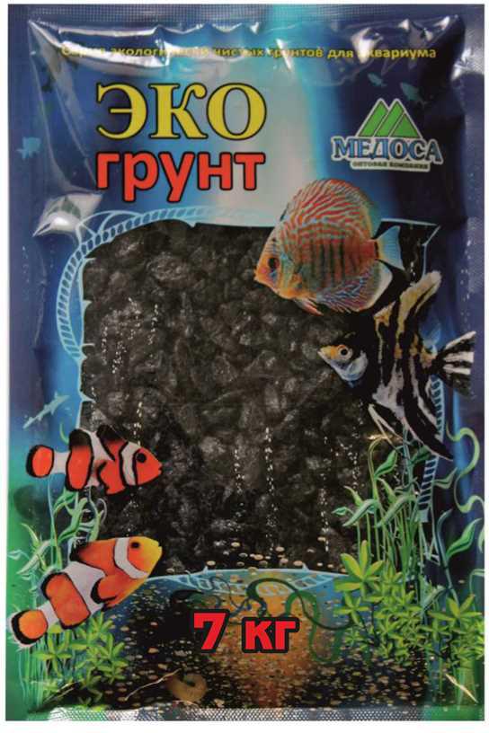 Грунт для аквариума ЭКОгрунт, мраморная крошка, блестящая, цвет: черный, 5-10 мм, 7 кг грунт для аквариума экогрунт мраморная крошка блестящая цвет синяя 2 5 мм 7 кг