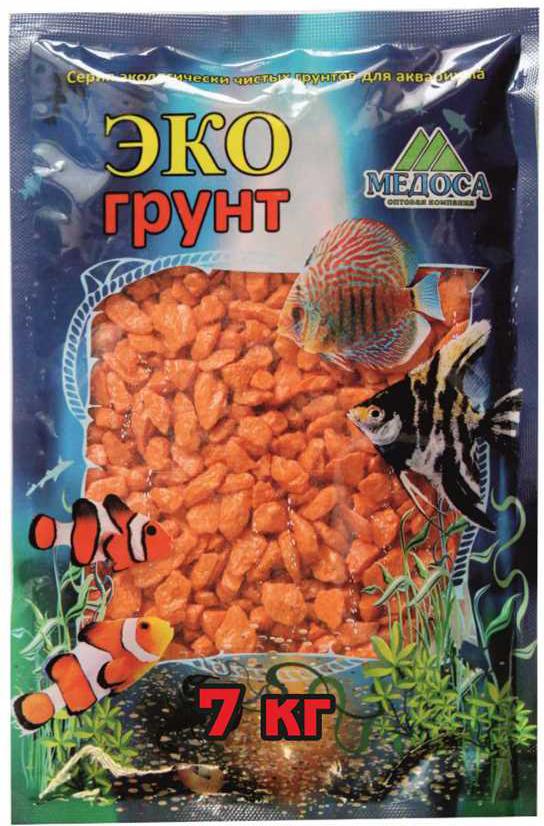 Грунт для аквариума ЭКОгрунт, мраморная крошка, блестящая, цвет: оранжевый, 5-10 мм, 7 кг грунт для аквариума экогрунт мраморная крошка блестящая цвет синяя 2 5 мм 7 кг