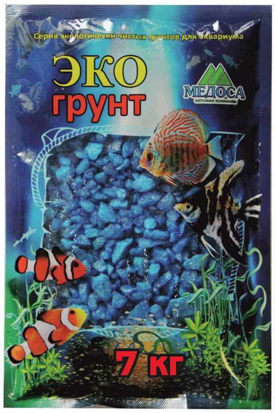 Грунт для аквариума ЭКОгрунт, мраморная крошка, блестящая, цвет: голубой, 5-10 мм, 7 кг грунт для аквариума экогрунт мраморная крошка блестящая цвет синяя 2 5 мм 7 кг