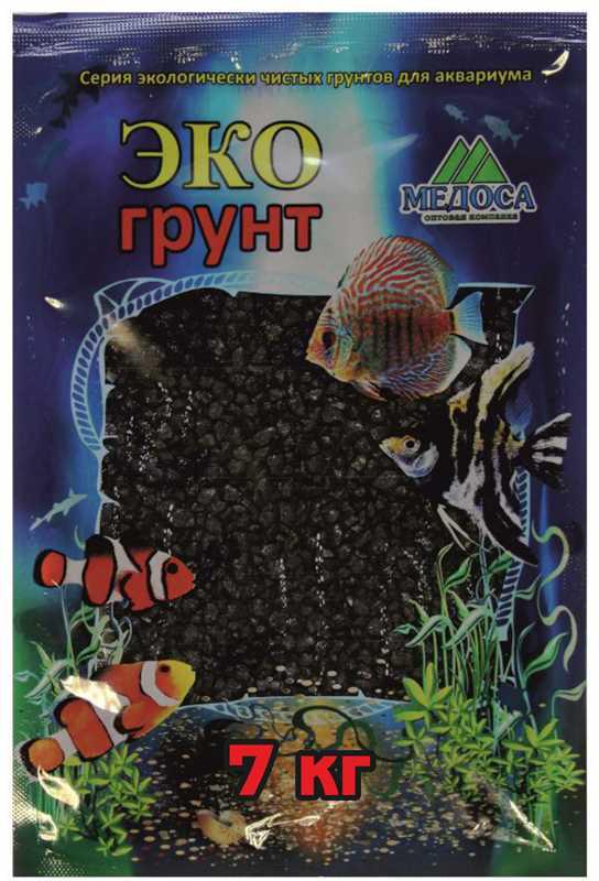 Грунт для аквариума ЭКОгрунт, мраморная крошка, блестящая, цвет: черный, 2-5 мм, 7 кг грунт для аквариума экогрунт мраморная крошка блестящая цвет синяя 2 5 мм 7 кг
