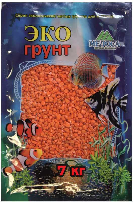 Грунт для аквариума ЭКОгрунт, мраморная крошка, блестящая, цвет: оранжевый, 2-5 мм, 7 кг грунт для аквариума экогрунт мраморная крошка блестящая цвет синяя 2 5 мм 7 кг