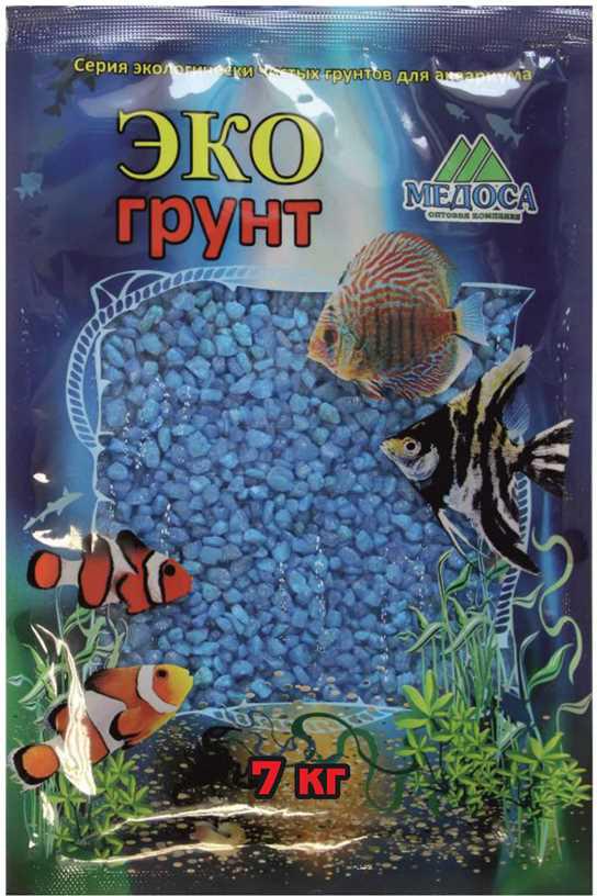 Грунт для аквариума ЭКОгрунт, мраморная крошка, блестящая, цвет: голубой, 2-5 мм, 7 кг грунт для аквариума экогрунт мраморная крошка блестящая цвет синяя 2 5 мм 7 кг