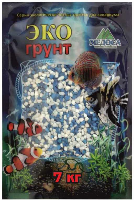 Грунт для аквариума ЭКОгрунт, мраморная крошка, блестящая, цвет: бело-голубая, 2-5 мм, 7 кг грунт для аквариума экогрунт мраморная крошка блестящая цвет синяя 2 5 мм 7 кг
