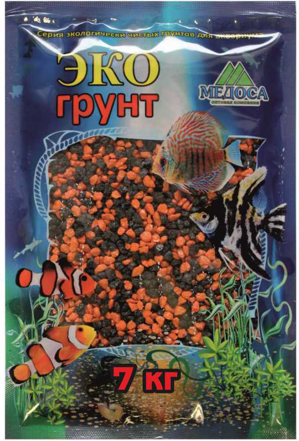 Грунт для аквариума ЭКОгрунт, мраморная крошка, блестящая, цвет: черно-оранжевая, 2-5 мм, 7 кг грунт для аквариума экогрунт мраморная крошка блестящая цвет синяя 2 5 мм 7 кг
