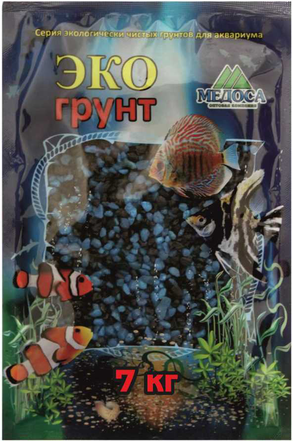 Грунт для аквариума ЭКОгрунт, мраморная крошка, блестящая, цвет: черно-голубая, 2-5 мм, 7 кг грунт для аквариума экогрунт мраморная крошка блестящая цвет синяя 2 5 мм 7 кг