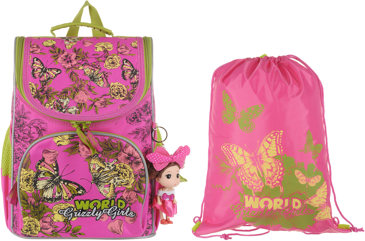 все цены на Grizzly Рюкзак школьный с мешком цвет розовый RA-879-8 онлайн
