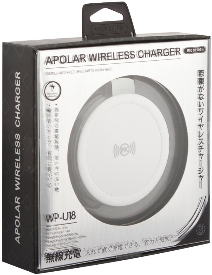 Фото - WK WK-Wireless Charger WP-U18, White беспроводное зарядное устройство беспроводное зарядное устройство chocolate wireless charger input dc 5 0v 2 0a 9 0v 1 67a