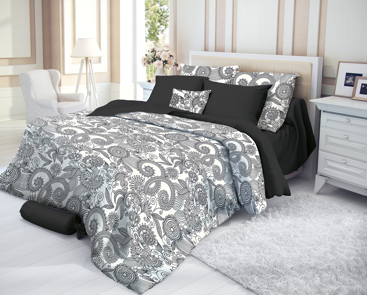 """Комплект белья Verossa """"Guise"""", 1,5-спальный, наволочки 70х70, цвет: черный"""